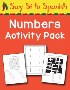 Spanish Numbers Activity Pack cover Currclick