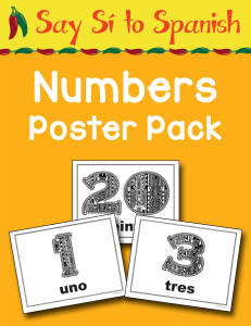 Spanish Numbers Poster Pack cover Currclick