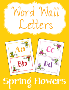 Word Wall Letters Spring Flowers cover Currclick