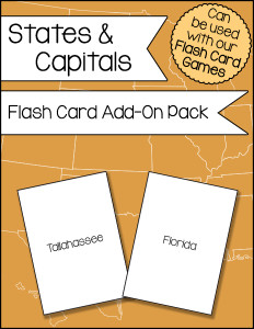 States and Capitals Flash Card Add-On Pack 600h