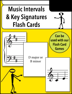 Music Intervals and Key Signatures Flash Cards cover 600h
