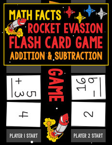 Math Facts Rocket Evasion Flash Card Game Addition Subtraction 600h