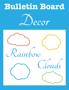 Bulletin Board Decor Rainbow Clouds cover Currclick