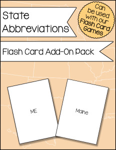State Abbreviations Flash Card Add-On Pack 600h