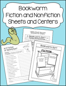Bookworm Fiction and Nonfiction Sheets and Centers 600h