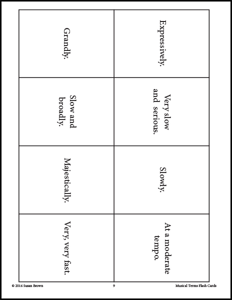 Musical Terms Flash Cards - Warm Hearts Publishing