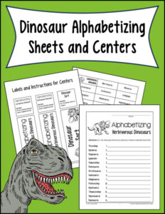 Dinosaur Alphabetizing Sheets and Centers
